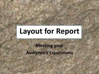 Layout for Report
