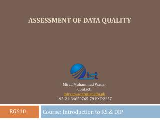 Assessment of data quality