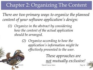Chapter 2: Organizing The Content