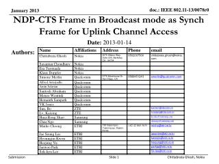 NDP-CTS Frame in Broadcast mode as Synch Frame for Uplink Channel Access