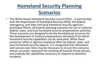 Homeland Security Planning Scenarios