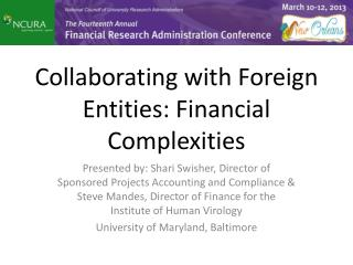 Collaborating with Foreign Entities: Financial Complexities