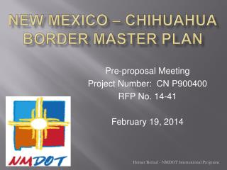 New Mexico – Chihuahua Border Master Plan