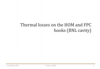 Thermal losses on the HOM and FPC hooks (BNL cavity)