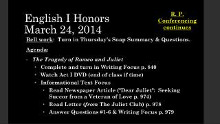 English I Honors March 24, 2014