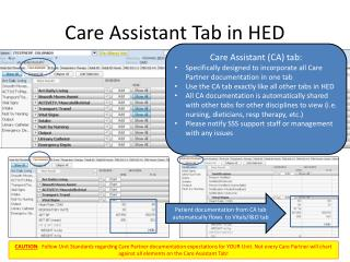 Care Assistant Tab in HED