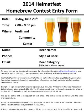 2014  Heimatfest Homebrew Contest Entry Form