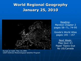 World Regional Geography January 25, 2010