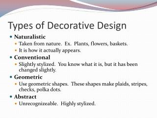 Types of Decorative Design
