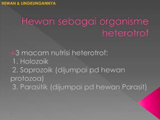Hewan sebagai  organisme  heterotrof