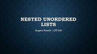 Nested Unordered Lists