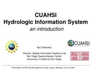 CUAHSI  Hydrologic Information System an introduction
