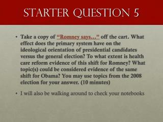 Starter Question 5
