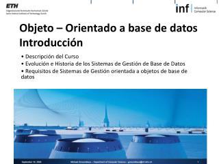 Objeto – Orientado a base de datos Introducción