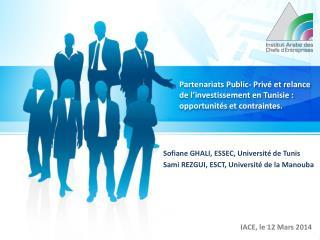 Sofiane  GHALI, ESSEC, Université de Tunis Sami  REZGUI, ESCT, Université de la  Manouba