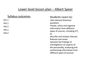 Lower level lesson plan – Albert Speer