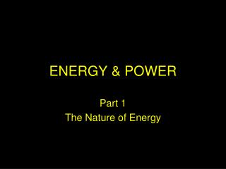 ENERGY & POWER