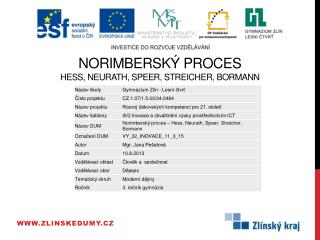 Norimbersk�  proces Hess,  Neurath ,  Speer ,  Streicher ,  Bormann