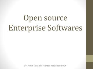 Open source Enterprise  Softwares