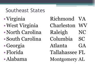 Southeast States