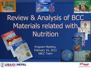 Program Meeting,  February 16, 2012 SBCC Team