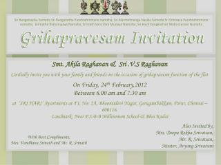 Grihapravesam Invitation