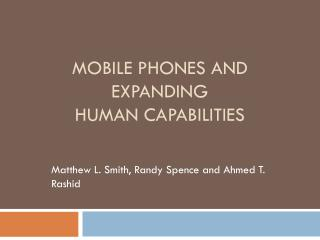 Mobile Phones and Expanding Human Capabilities