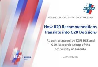 How B20 Recommendations Translate into G20 Decisions