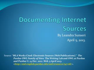 Documenting Internet Sources