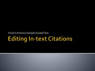 Editing In-text Citations