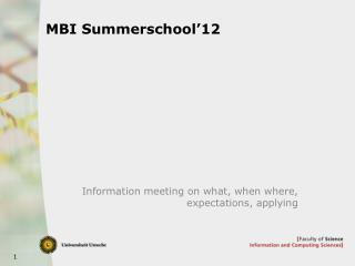 MBI Summerschool�12