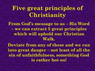 Five great principles of Christianity