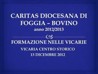 CARITAS DIOCESANA DI FOGGIA – BOVINO anno 2012/2013 FORMAZIONE NELLE VICARIE