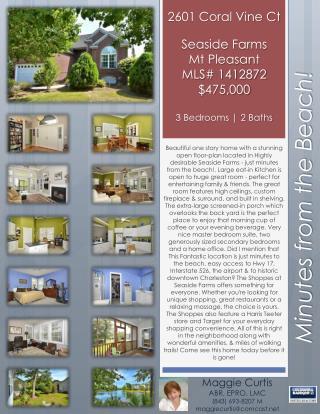 2601 Coral Vine Ct Seaside Farms Mt Pleasant MLS# 1412872 $475,000 3 Bedrooms   2 Baths