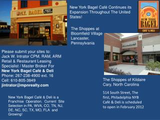 New York Bagel Café Continues its Expansion Throughout The United States!