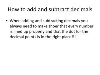 How to add and subtract decimals