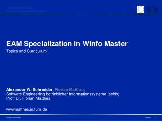 EAM Specialization in  WInfo  Master