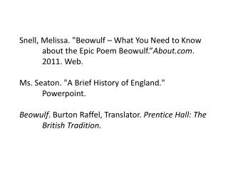 Beowulf History Source Notations 281z61l
