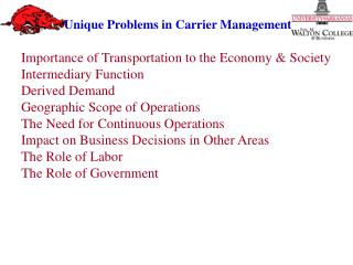 Importance of Transportation to the Economy  & Society Intermediary Function Derived Demand