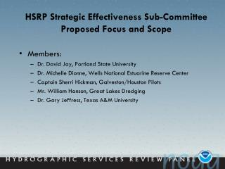 HSRP Strategic Effectiveness Sub-Committee Proposed Focus and Scope