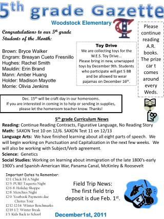 5 th  grade Gazette