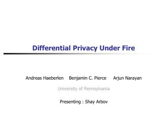 Differential Privacy Under Fire