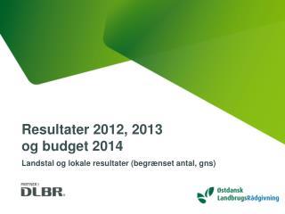Resultater 2012, 2013  og budget 2014