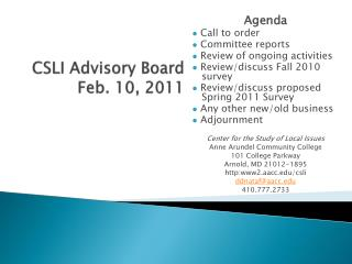 CSLI Advisory Board Feb. 10, 2011