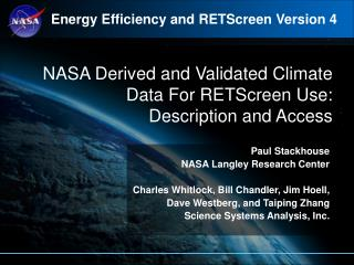NASA Derived and Validated Climate Data For RETScreen Use:  Description and Access