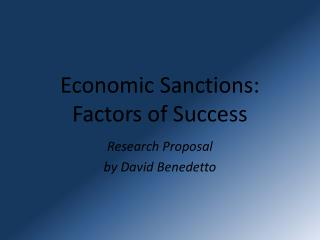 Economic Sanctions: Factors of Success