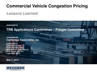 Commercial Vehicle Congestion Pricing