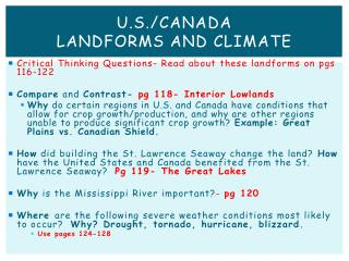 U.S./Canada  Landforms and Climate