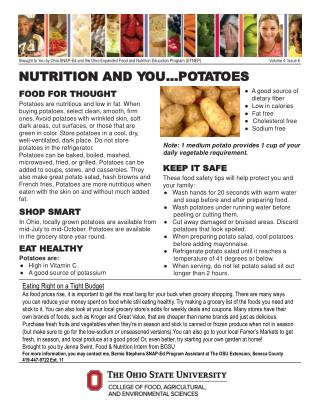 NUTRITION AND  Y OU…P O T A T OES