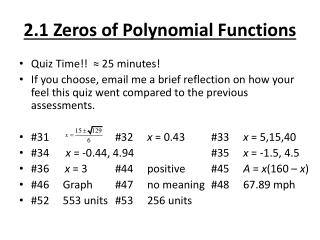 2.1 Zeros of Polynomial Functions